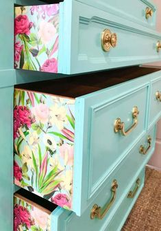 upcycled furniture Im going to show you a quick and easy way to apply paper to a dresser for a fun punch of pattern and color. this step by step tutorial to make your furniture pop. BONUS video tutorial as well! Home Diy, Furniture Diy, Furniture Makeover, Painted Furniture, Diy Furniture, Furniture, Diy Decor, Repurposed Furniture, Diy Home Decor