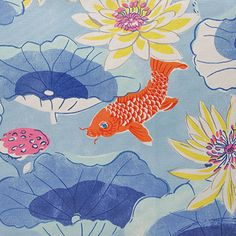 Lotus Lake is a breathable, spun polyester fabric from Waverly's Sun N Shade Collection. It features a large-scale koi pond scene that is pigment printed on 100% polyester diamond weave cloth.
