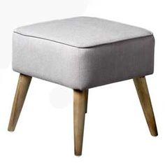 pouf repose pied en tissu gris pied bois bloomingville par 2. Black Bedroom Furniture Sets. Home Design Ideas