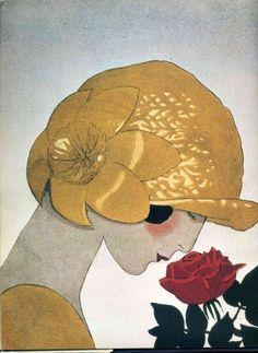 poboh: ' The Scent of Roses', fashion plate for a hat design by Marthe Collot from 'La Gazette du Bon Ton', 1924, André Édouard Marty. French (1882 - 1974)