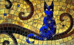 Whew, just finished my SAMA salon piece! by cbmosaics - Christine Brallier Mirror Mosaic, Mosaic Art, Mosaic Glass, Mosaic Tiles, Stained Glass, The Night Cat, Mosaic Animals, Mosaic Designs, Seed Beads