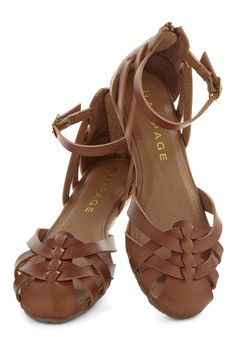 Ride On Flat. Your weekend style is always on-point, especially when you wear these braided, ankle-strap flats! #brown #modcloth