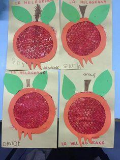 Fruit Crafts, Leaf Crafts, Bunny Crafts, Autumn Leaves Craft, Autumn Crafts, Toddler Arts And Crafts, Crafts For Kids, Vegetable Crafts, Pomegranate Art