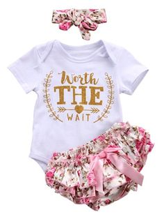 3Pcs Infant floral baby girl bloomers ,Headband Outfits Set #babybloomersoutfit