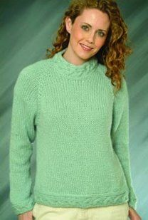 Top Down Ladies Pullover in Plymouth Yarn Baby Alpaca Grande - F-IN83
