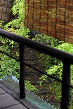 すだれ Japanese traditional shade , common reed , rain in Kyoto , Japanese nostalgic garden