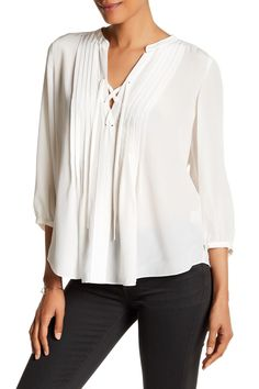 3/4 Sleeve Silk Shirt by Rebecca Taylor on @nordstrom_rack