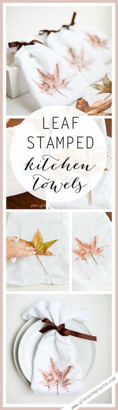 DIY LEAF STAMPED KITCHEN TOWELS
