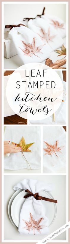 DIY LEAF STAMPED KITCHEN TOWELS
