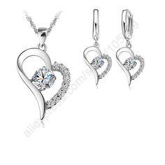 Heart Shaped Pendant Necklace Earrings Set