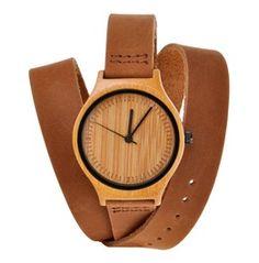 Natural Bamboo Watch Japanese Quartz Genuine Leather Wrist Watch Brown