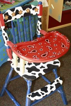 I'm not into the western decor but how cute is this! Can be painted for any theme. Painted High Chairs, Hand Painted Furniture, Funky Furniture, Repurposed Furniture, Kids Furniture, Furniture Makeover, Farmhouse Dining Chairs, Dining Room, Cowboy And Cowgirl