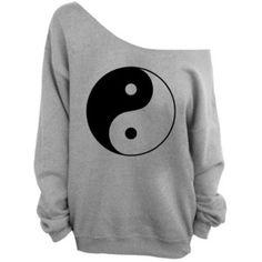 Yin Yang - Gray Slouchy Oversized Sweatshirt