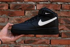 6bdcd7b9cf0d Nike Air Force 1 07 Black Mens Mid Skate Sneaker AA4083-001 New Nike Air