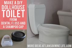 Lansdowne Life: DIY Dollhouse: Bathroom furniture from dental floss case and shampoo bottle lidLansdowne Life: DIY Dollhouse: Bathroom furniture -there are 6 parts to this post!Dollhouse Miniatures - Dollhouse Toilet Using Dental Floss Container & Shampoo Barbie Doll House, Barbie Dream House, Barbie Barbie, Barbie Stuff, Doll Stuff, Miniature Furniture, Dollhouse Furniture, Diy Dollhouse, Dollhouse Miniatures