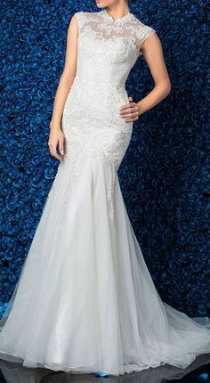 Wedding Dress Trumpet Mermaid Sweep Brush Train Tulle High Neck With Side Draping and Beading Appliques