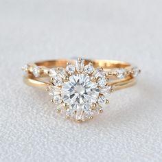 Moissanite Inspired Halo Ring Bridal Set - 7.5 / Solid 14K Rose Gold