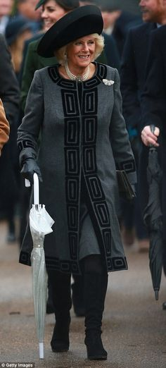 dailymail: British Royals attend Christmas service at St. Mary Magdalene Church, Sandringham, December 25, 2015-Duchess of Cornwall wore a grey coat and dress with black trim an a diamond butterfly brooch as well as diamond and pearl earrings and necklace