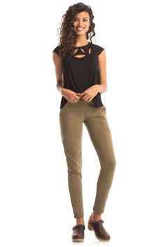 Charger Skinny Pant in Burnt Olive - Synergy Organic Clothing