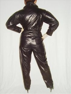 Vintage 1980s black lambskin jumpsuit by Louise Mann International  eBay Leather: January 2010