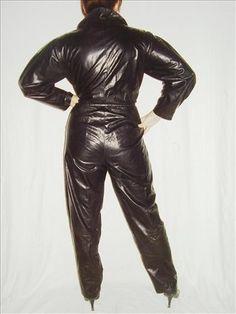 Vintage 1980s black lambskin jumpsuit by Louise Mann International  eBay Leather: January 2010
