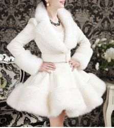 $48.50 Elegant Turn-Down Collar Faux Fur Embellished Long Sleeve Women's White Ruffle Coat
