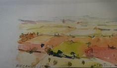 Amazing countryside from #GalleryHotelRecanati. Josephine Tate, watercoloro. #Recanati