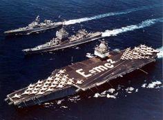 USS Enterprise (CVN 65), unmistakable USS Long Beach (CGN-9), and USS Bainbridge (CGN-25) steaming.