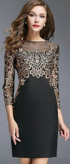 Chic O-Neck Long Sleeve Lace Embroidery Bodycon Dress - New Dress Lace Dresses, Trendy Dresses, Elegant Dresses, Beautiful Dresses, Vintage Dresses, Casual Dresses, Vintage Lace, Wedding Dresses, Lace Weddings