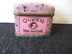 Vintage Queen Hair Dressing Tin Hair Care  -Sample sized