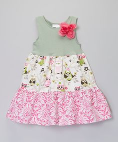 Look at this Green & White Lovely Owls Tiered Dress - Toddler & Girls on #zulily today!