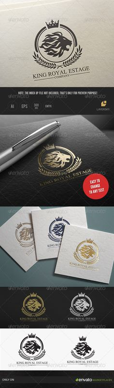 King Royal Estate by LayerSky This logo design for all creative business. Consulting, Excellent logo,simple and unique concept. Logo Template FeaturesAI and EPS Elegant Business Cards, Cool Business Cards, Business Logo, Creative Business, Logos, Logo Branding, Branding Design, Letterhead Template, Logo Templates