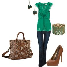A playful look.  Add a little punch to your wardrobe with some color mixed with neutral earth tones.