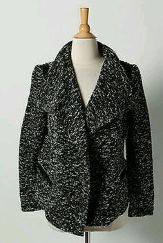 NWT Katherine Barclay Montreal Black White Tweed Long Sleeve Cropped Jacket SZ L #KatherineBarclay #BasicJacket