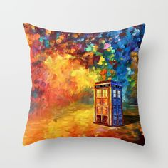 Police Phone Box at Rainbow city Art painting THROW PILLOW CASE @pointsalestore Society6 #PillowCover #CostumPillow #Cushion #CushionCase #PersonalizedPillow #tardisdoctorwho #doctor #davidtennant #publiccallbox #phonebox #12thdoctor #10thdoctor #painting #artpainting