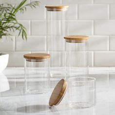 Mint Pantry 4 Piece Storage Jar Set, adds a stylish element to your kitchen with this sleek look. Each jar includes an air-tight, bamboo lid. Canisters are made of durable borosilicate glass. Glass Storage Jars, Glass Canisters, Food Storage Containers, Jar Storage, Pantry Storage, Tiny Pantry, Kitchen Containers, Pantry Organization, Glass Containers
