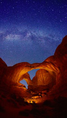 Double arches and Milky Way at Arches National Park in eastern Utah • photo: Royce Bair on Flickr
