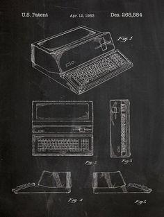 Apple 1983 Computer Patent Poster screen print decoration technical invention design blueprint schematic retro educational screenprint