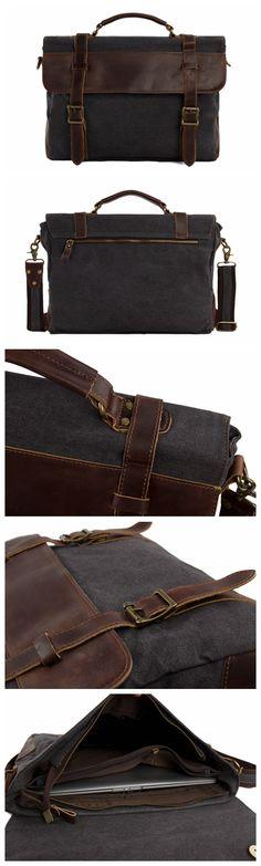 High Fashion Canvas Leather Briefcase, Messenger Bag Canvas Shoulder Bag
