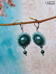 Bead embroidery mermaid porcelain cabochon earrings in