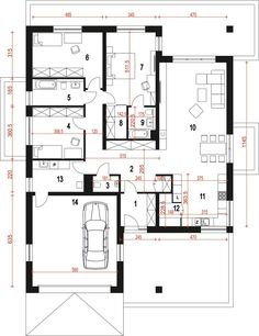Rzut ARC Pogodna z garażem dwustanowiskowym CE Round House Plans, Garage Double, Sims House Plans, Bungalow House Design, Building A House, Sweet Home, Villa, Floor Plans, How To Plan