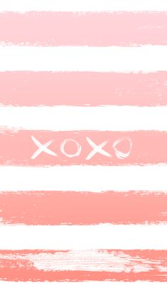 xoxo pink ombre stripes | free iPhone lock screen wallpaper