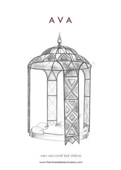 Luxury Bed Sketch for new client! Very exciting! Silver leaf and bevelled mirror...
