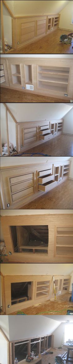 built-in knee wall cabinetry! Built-in knee wall cabinetry.Built-in knee wall cabinetry. Attic Bedrooms, Upstairs Bedroom, Attic Bedroom Kids, Bedroom Ideas, Master Bedroom, Attic Bathroom, Attic Renovation, Attic Remodel, Attic Storage