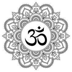 Circular pattern in form of mandala for Henna, Mehndi, tattoo, decoration. Decorative ornament in oriental style with ancient Hindu mantra OM. Coloring book page. Estilo Mehndi, Aum Tattoo, Mandala Tattoo, Mehndi Tattoo, Henna Mehndi, Om Symbol Tattoo, Tattoo Ink, Mandala Art Lesson, Mandala Drawing