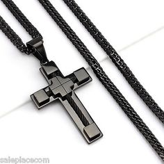 awesome 24MEN Stainless Steel 6mm Black Double Cuban Chain Necklace Cable Cross Pendant - For Sale