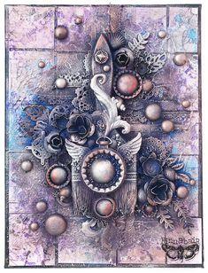 Mixed-media art, art journaling and scrapbooking by polish artist and teacher Anna Dabrowska aka Finnabair. Gelli Printing, Medium Art, Mixed Media Art, Art Tutorials, Collage Art, My Arts, Purple, Celebrities, Creative