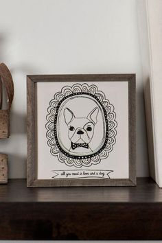 Framed French Bulldog Mini Wall Art: All you need is love  and a dog
