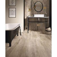 Carrelage sol et mur brun clair effet bois Heritage l.20 x L.80 cm