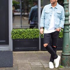 Denim jacket ripped jeans and sneakers by @kosta_williams [ http://ift.tt/1f8LY65 ]